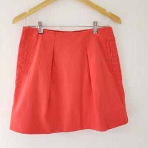J. Crew Orange Flare Mini Pockets Pleated Cotton 4